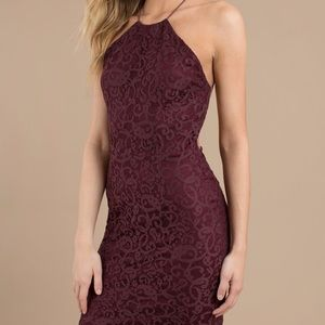 Backless High Neck Halter Lace Mini dress